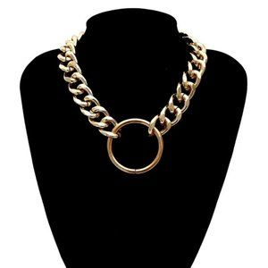 Unisex Gold Silver Thick Alloy Chain Ring necklace